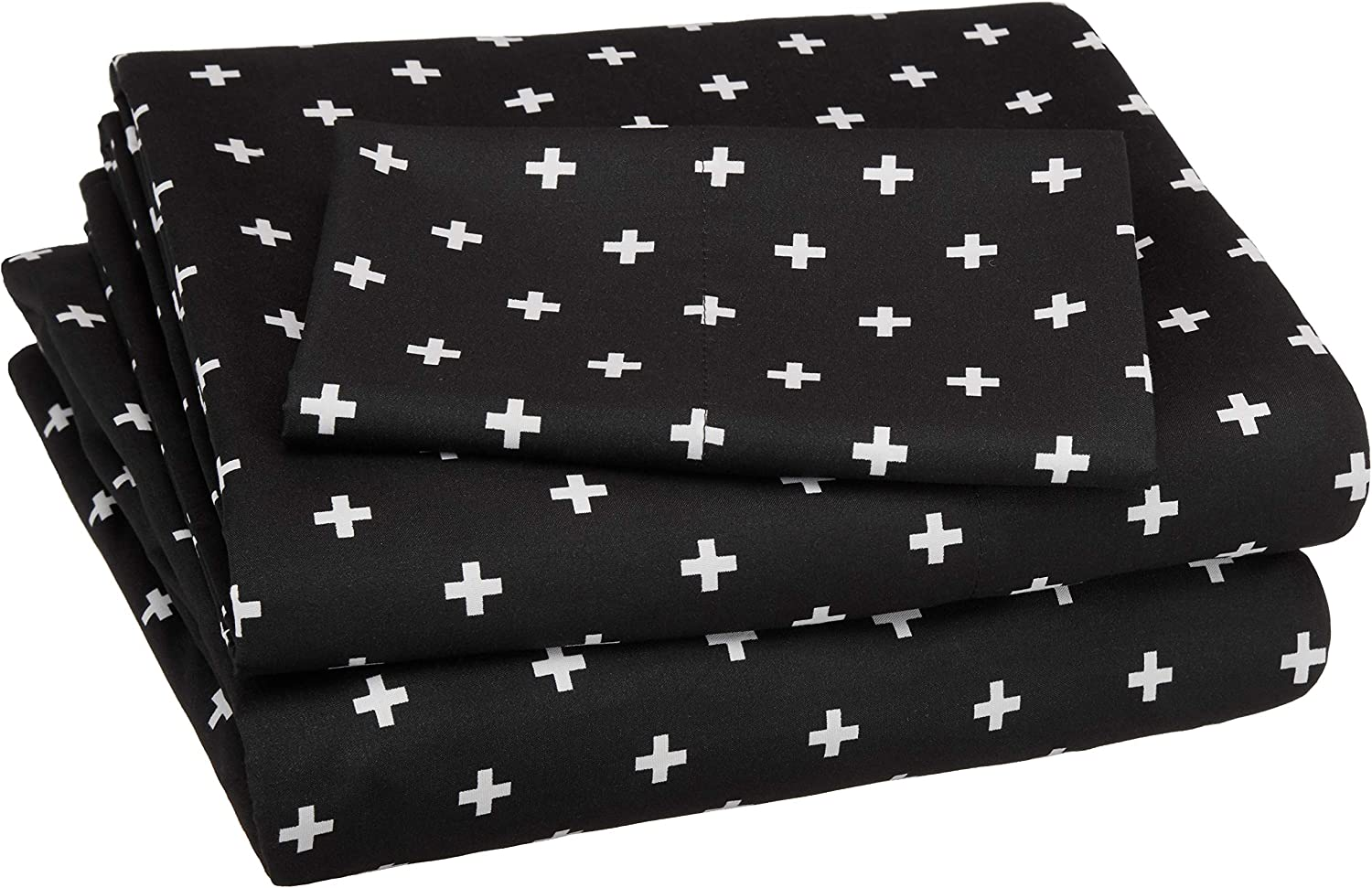 AmazonBasics Soft Microfiber Sheet Set with Elastic Pockets - Twin, Black Plus's