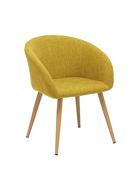 Sedia da Sala da Pranzo in Tessuto (Lino) Colore Giallo Design Retro ...