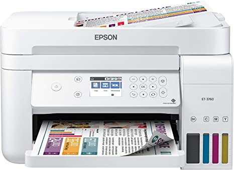 Epson EcoTank ET-3760 Wireless Color All-in-One Cartridge-Free Supertank Printer with Scanner, Copier, ADF and Ethernet, White