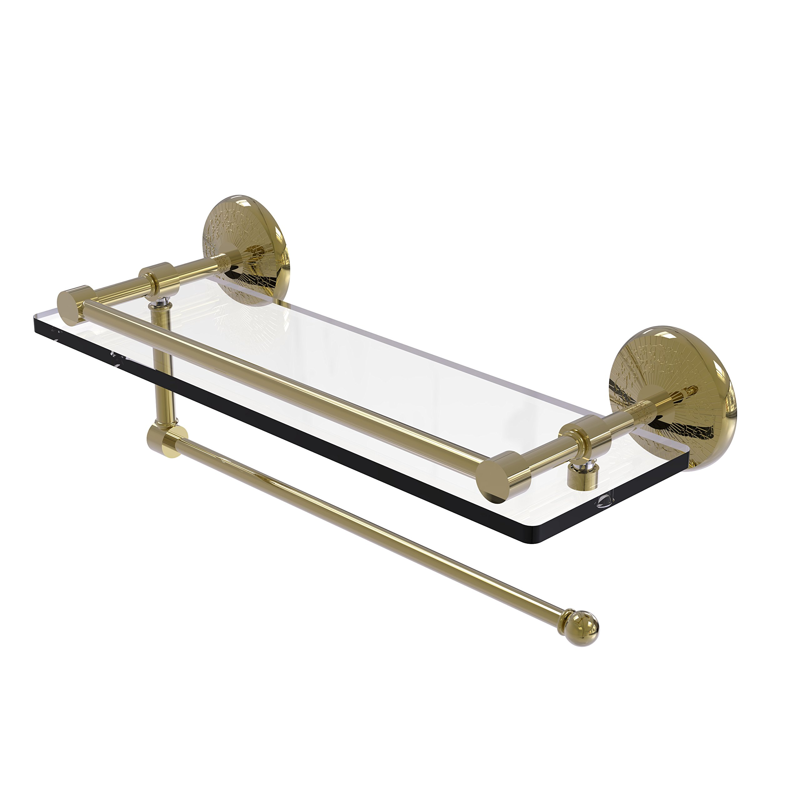 Allied Brass Prestige Monte Carlo Collection Paper Towel Holder with 16 Inch Gallery Glass Shelf PMC-1PT/16-GAL - Unlacquered Brass