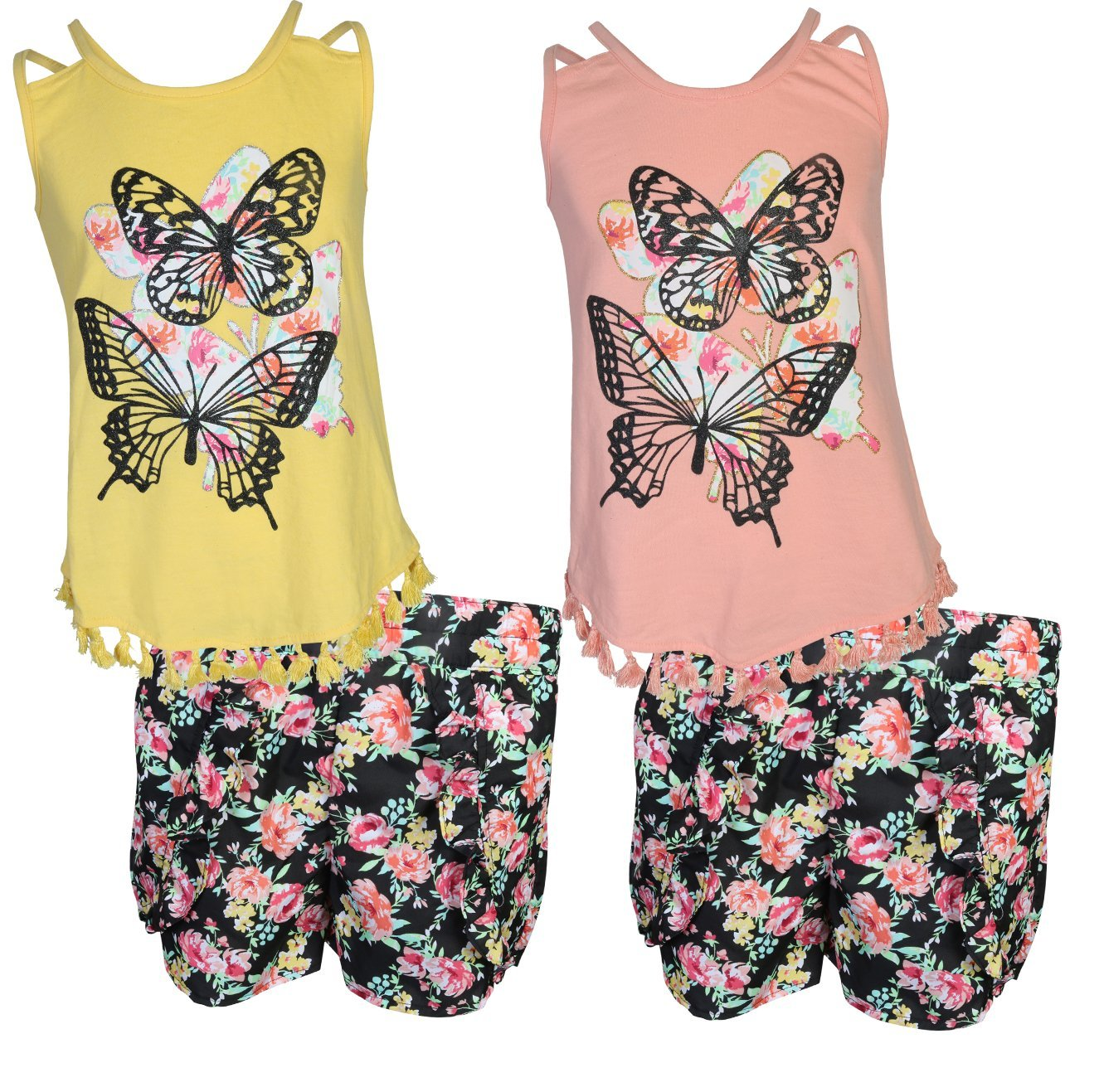 dollhouse Girls 4-Piece Graphic Top and Short Set, Butterfly, Size 5/6'