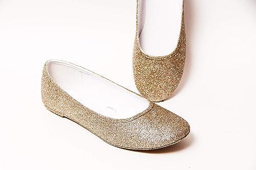 Amazon.com: Women's Hand Glittered Champagne Gold Glitter Ballet Flats Slip  On Shoes by Princess Pumps: Handmade