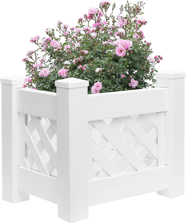 Gardenised White Vinyl Raised Lattice Fence Bed Planter Trellis Design Screwless Elevated Garden Box, 13.5 x 20.5 (QI003740.L)