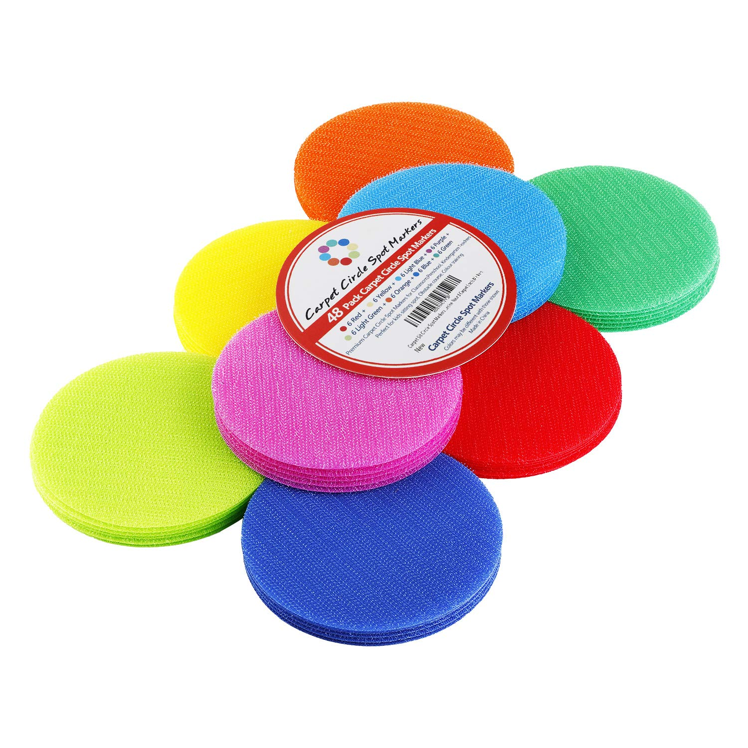 Classroom Carpet Circle Spots Markers 48 Pack 8 Colors for Kids Classroom Rug Markers Seating Floor Circle Spots for Students Preschool Kindergarten Teachers Floor Dots Adhesive Round Spots Markers