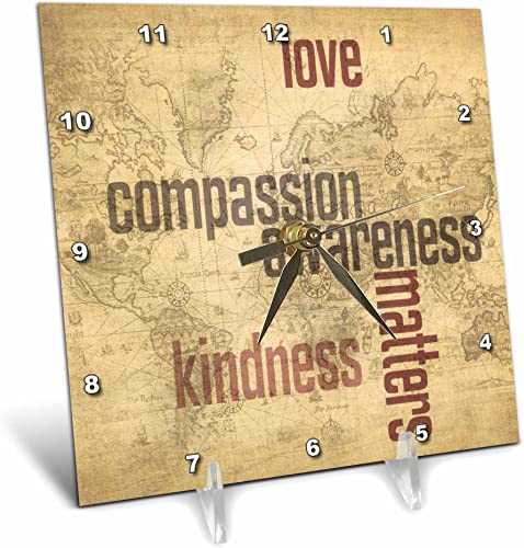 3dRose dc_33723_1 Love and Kindness Matters World Map Inspirational Art Desk Clock, 6 by 6-Inch