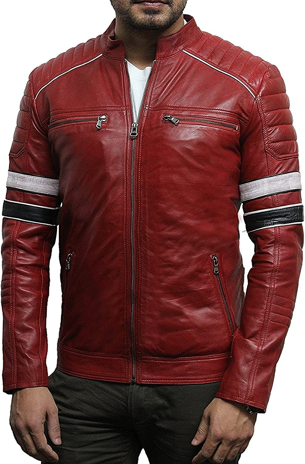 ABSY Mens Leather Biker Racing Jacket Lambskin Bomber Casual Red