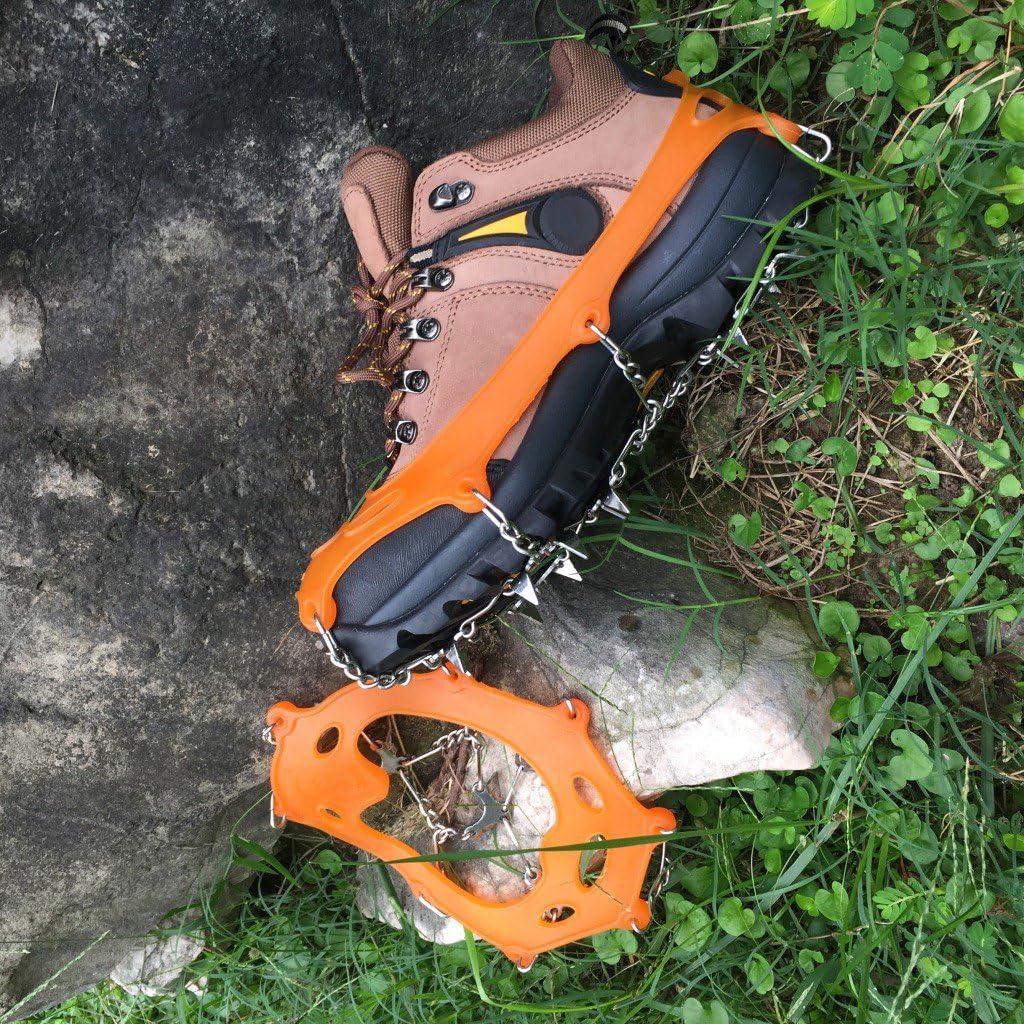 Toygogo Hielo Zapatos para Nieve Botas con Clavos Cadena Crampones De Acero Inoxidable Pinzas 18 para Caminar sobre Nieve Y Hielo