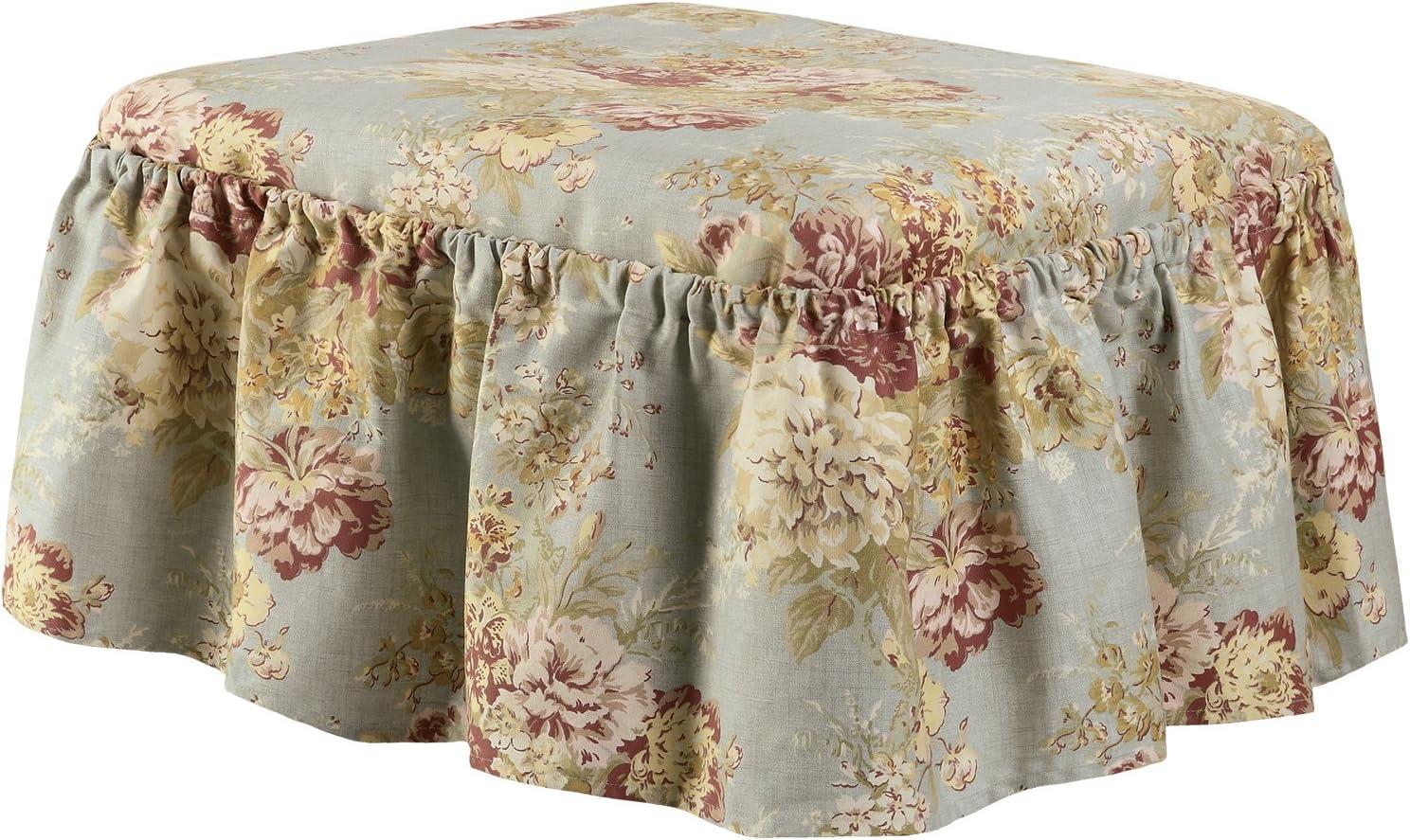 SURE FIT Ballad Bouquet Ottoman Cover Robins Egg SF4475