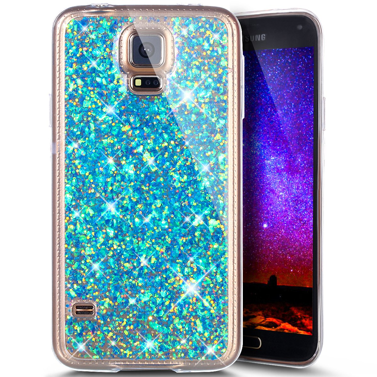 Galaxy s5ケース, Galaxy s5 Bling Glitter TPUケース、phezen Shiny Sparkling Hexagonal Star柔軟なソフトラバージェルクリアTpuケースシリコンバックケースfor Samsung Galaxy s5 (レッド) PHEZEN04700  Hexagonal Star: Blue B0721GZG9Q