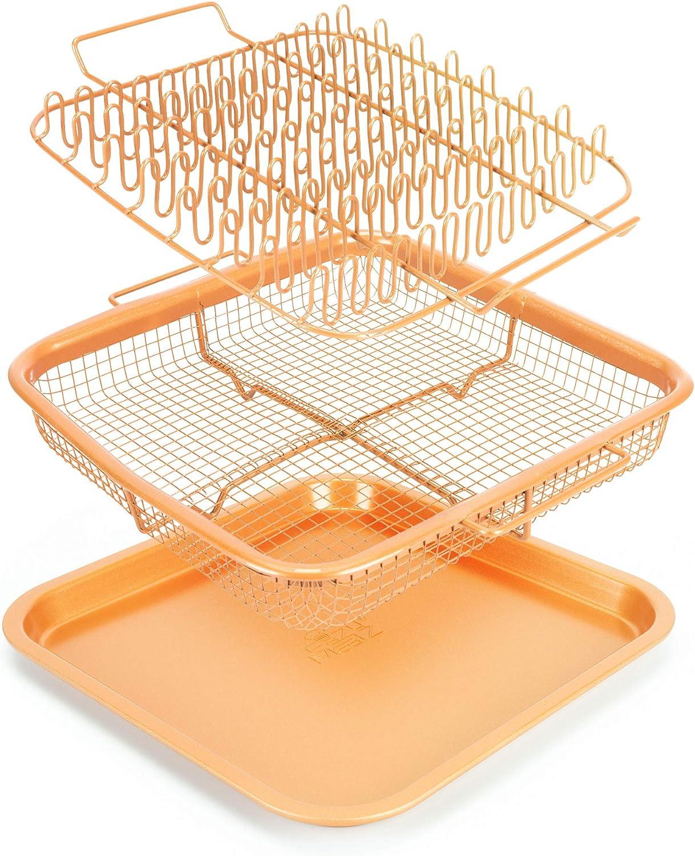 EaZy MealZ Healthier Cooking-Air Fry-Non-Stick-9x9 Bacon Rack & Crisper Basket Set, 9x9, Copper