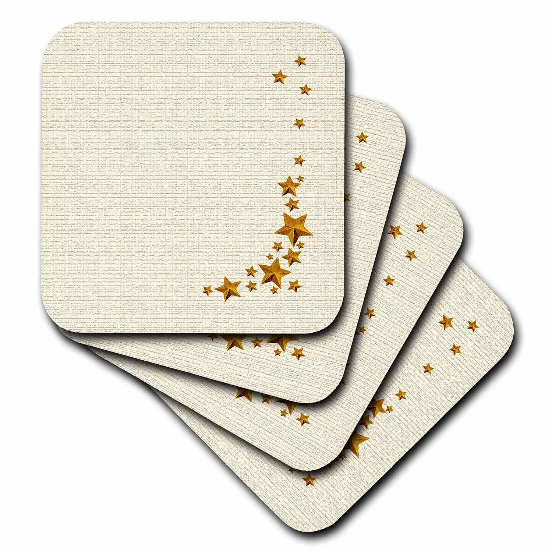 3dRose cst/_108380/_2 Falling Stars Gold on Tan-Soft Coasters Set of 8