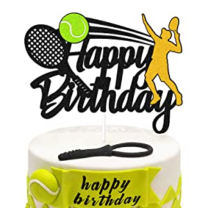 Tennis Birthday Cake Decorations Happy Birthday Sign Cake Topper for Tennis Racket Ball Player Sport Themed Bday Party Supplies Glitter Black Décor