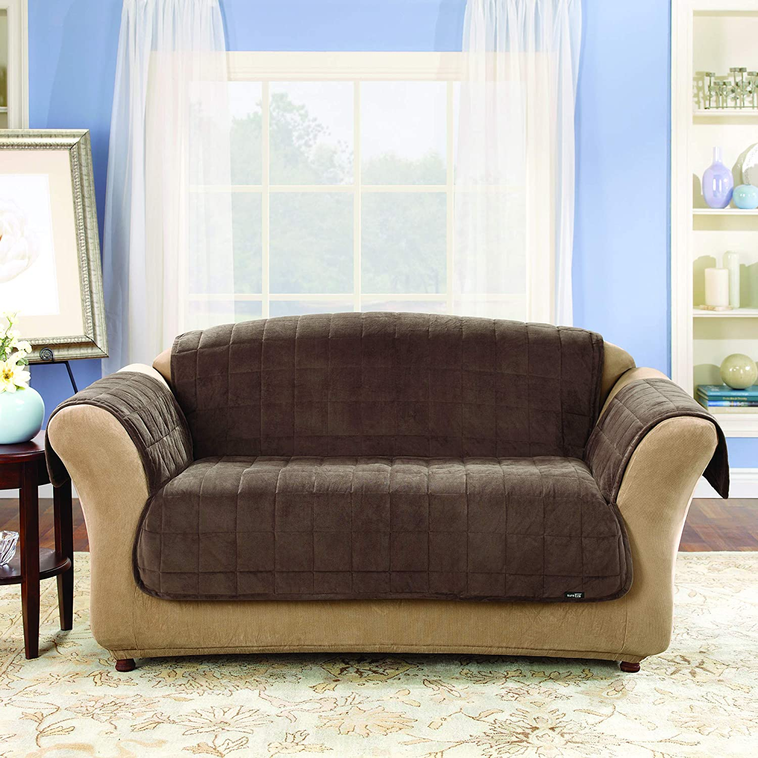Prime Surefit Deluxe Loveseat Furniture Cover With Arms Chocolate Squirreltailoven Fun Painted Chair Ideas Images Squirreltailovenorg