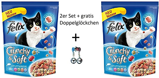 Set: Felix gato trockenfutter Crunchy & Soft salmón, Atún & verduras 2 x 950 gr + Gratis cascabeles: Amazon.es: Productos para mascotas