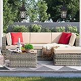 Devoko 5 Pieces Patio Furniture Sets Outdoor Sectional Sofa Manual Weaving Rattan Wicker Patio Conversation Set with Cushion