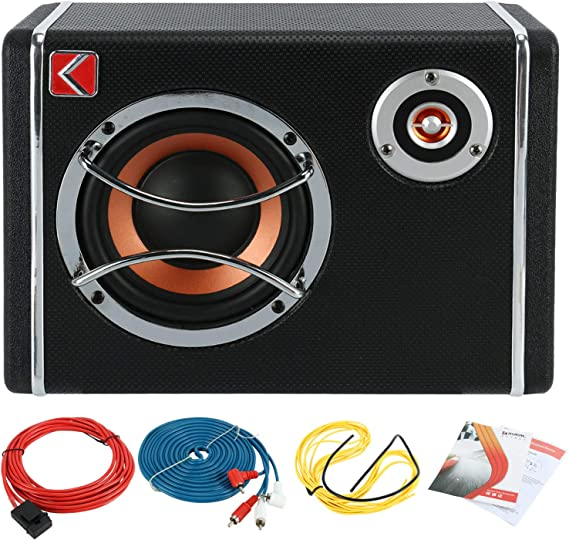 10/'/' 600W Under-Seat Car Subwoofer Powered Bass Amplifier Slim Enclosure