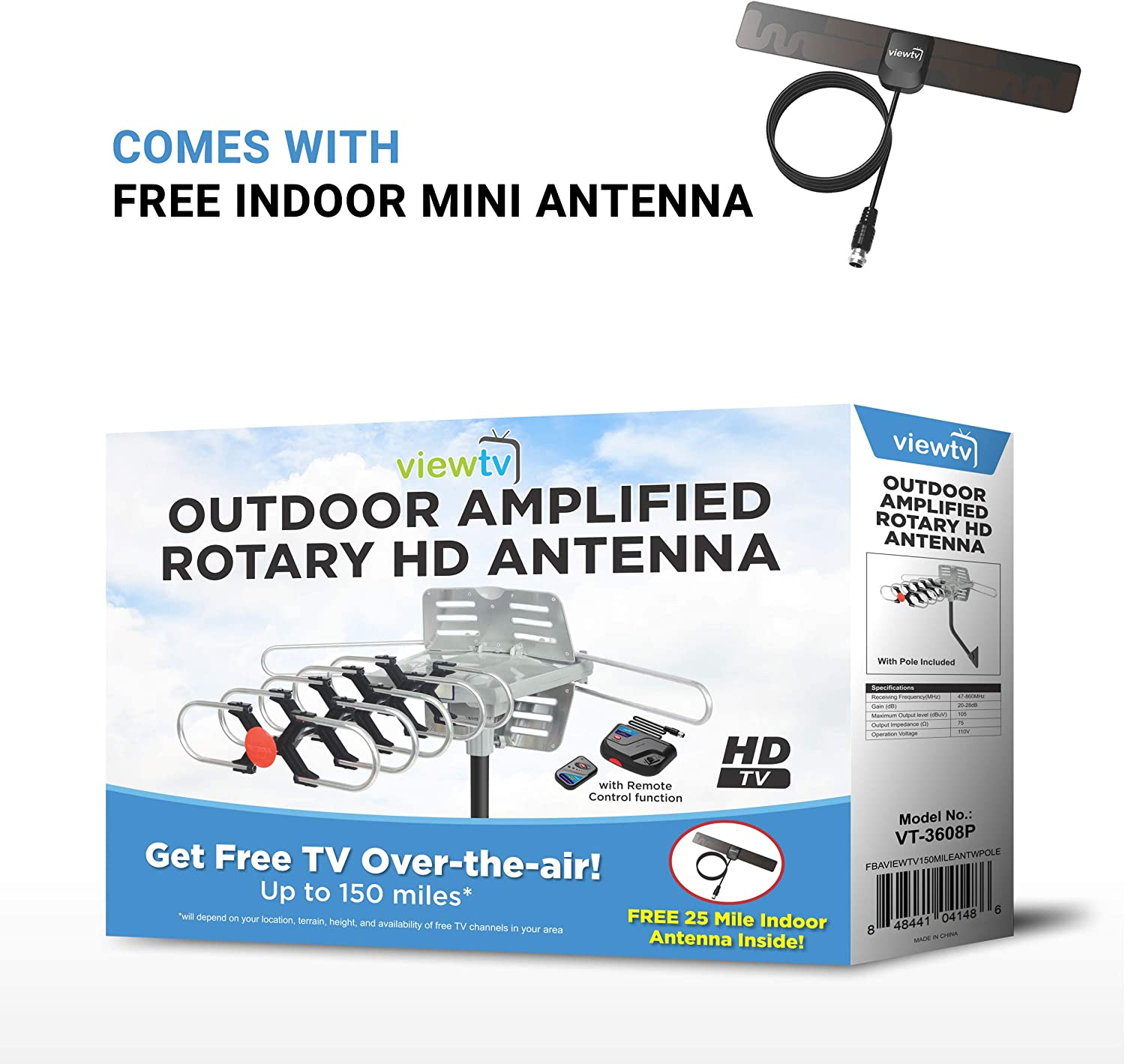 120 Miles Long Range Outdoor Antenna Wireless Remote and Mounting Pole Included ViewTV 120 Mile Range Outdoor//Attic Amplified Antenna 360/° Rotation 120 Miles Range