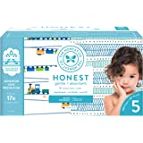 The Honest Company Super Club Box Diapers with TrueAbsorb Technology, Trains & Teal Tribal, Size 5, 100 Count