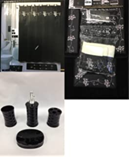 22 piece bath accessory set beverly black flower bath rug set shower curtain u0026 accessories