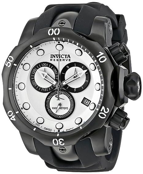 Invicta Venom Cronógrafo Negro Dial de poliuretano, color blanco: Amazon.es: Relojes