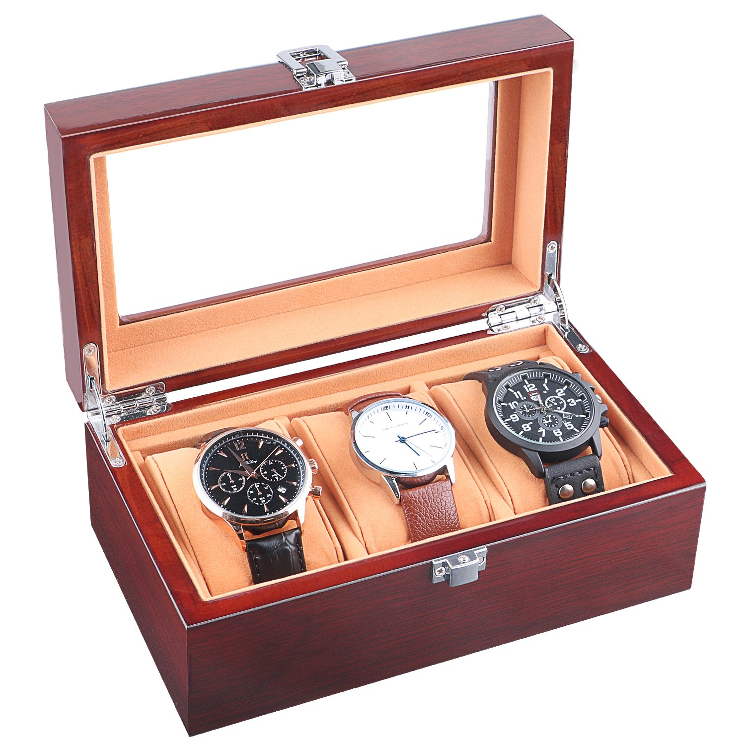 JinDiLong Watch Box for Men 3 Slots Wood Organizer Storage Case Mens Jewelry Watches Collection Display Holder Boasts Glass Top & Flannel Pillow