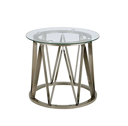 Amazoncom Acme Perjan Antique Brass End Table Kitchen Dining
