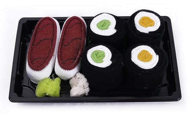 Sushi Calcetines Box 3 pares Atún pepino Maki oshinko Maki Multicolor