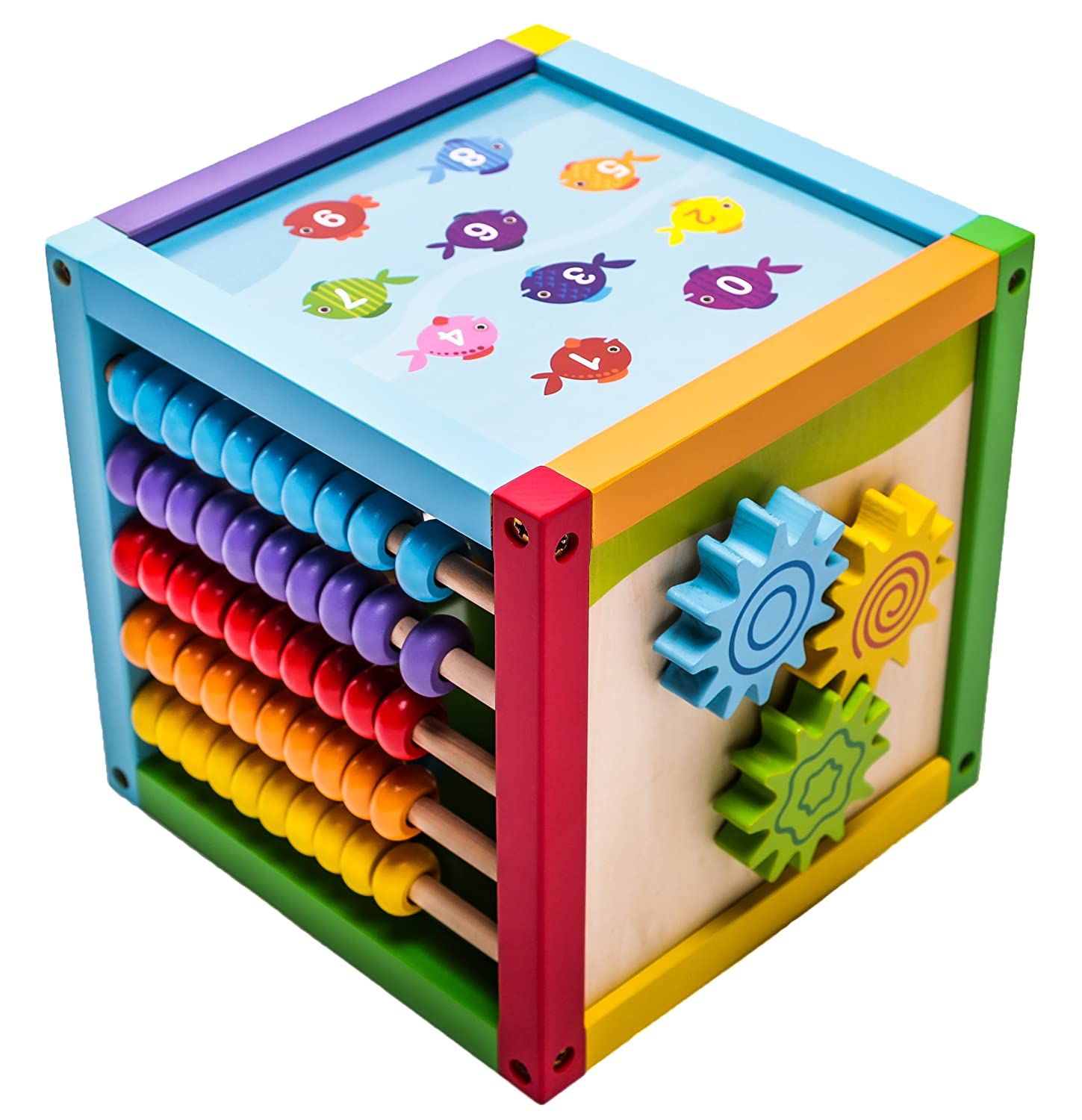 "Amazon 6 in 1 Play Cube Activity Center Wood 8"" Toys & Games"