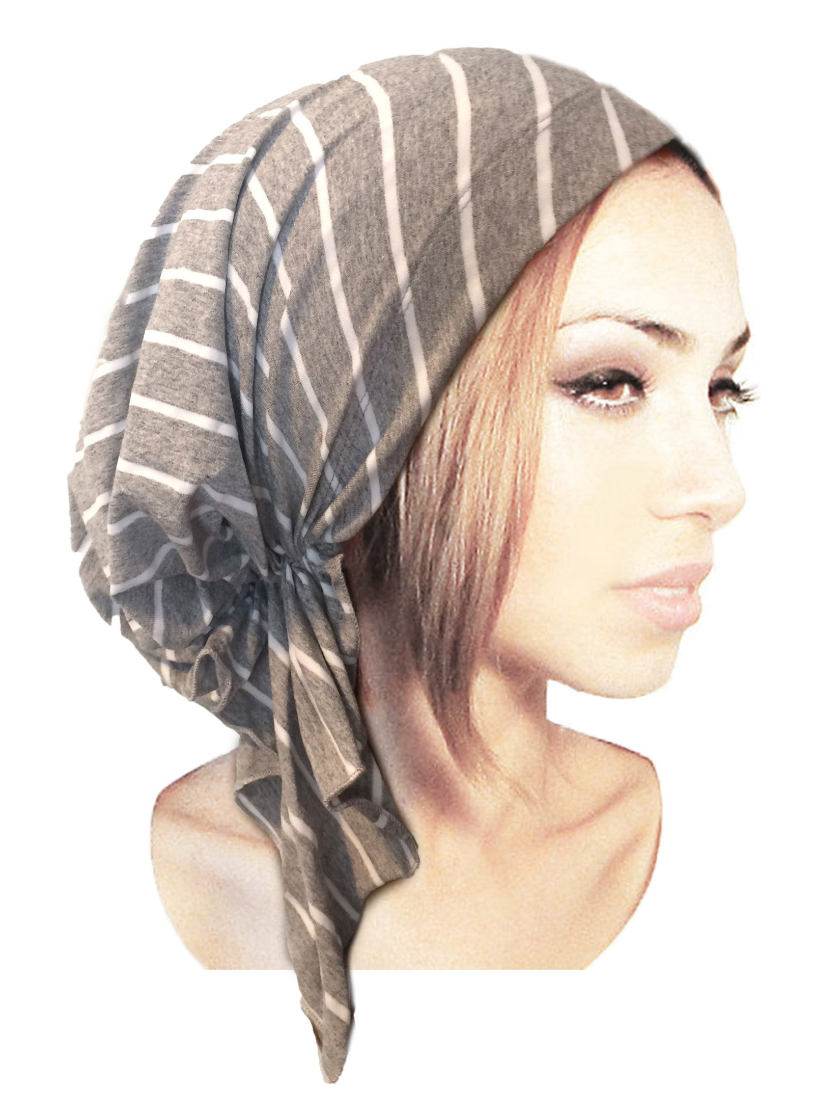 Gray Head-Scarf Pre-Tied Cotton Head-Cover Snood Chemo Cancer & Tichel Friendly in 30 Colors! (Gray White Stripe Short)