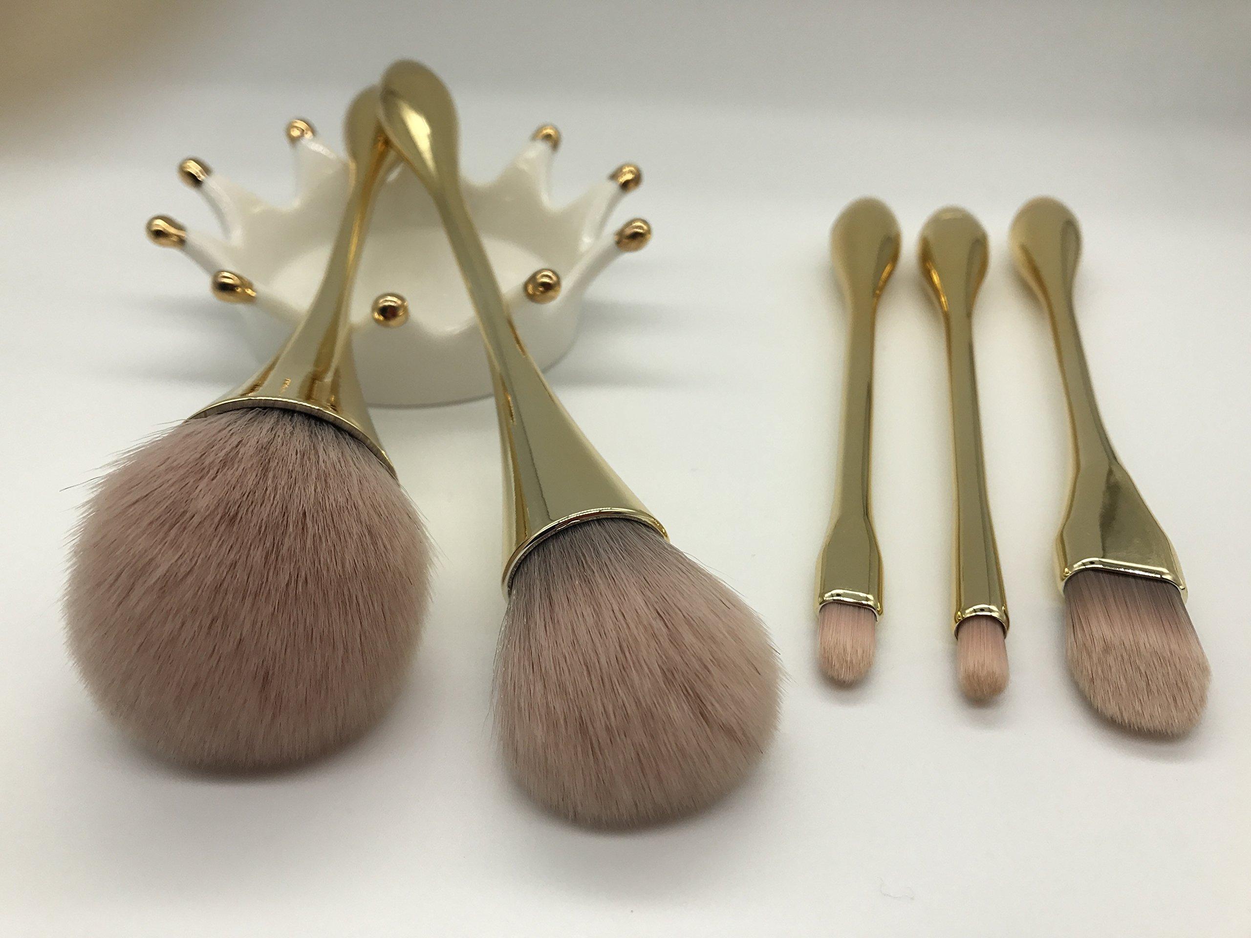 YoTruth 5 pcs Premium Comestic Brushes set Foundation Blending Blush Eyeliner Face Powder Brush Soft Comfortable Skin-friendly Gloden