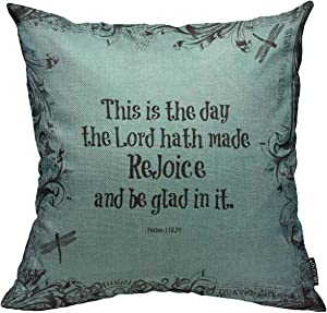 Mugod Throw Pillow Cover Blue Verses Bible Verse This is The Day Lord Hath Black Home Decorative Square Pillow Case for Men Women Boy Gilrs Bedroom Livingroom Cushion Cover 18x18 Inch