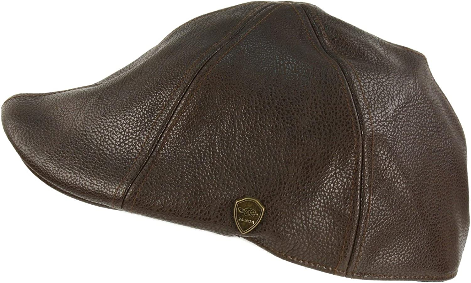 Mens Winter Fall Faux Leather Duckbill Ivy Driver Cabbie Cap Hat
