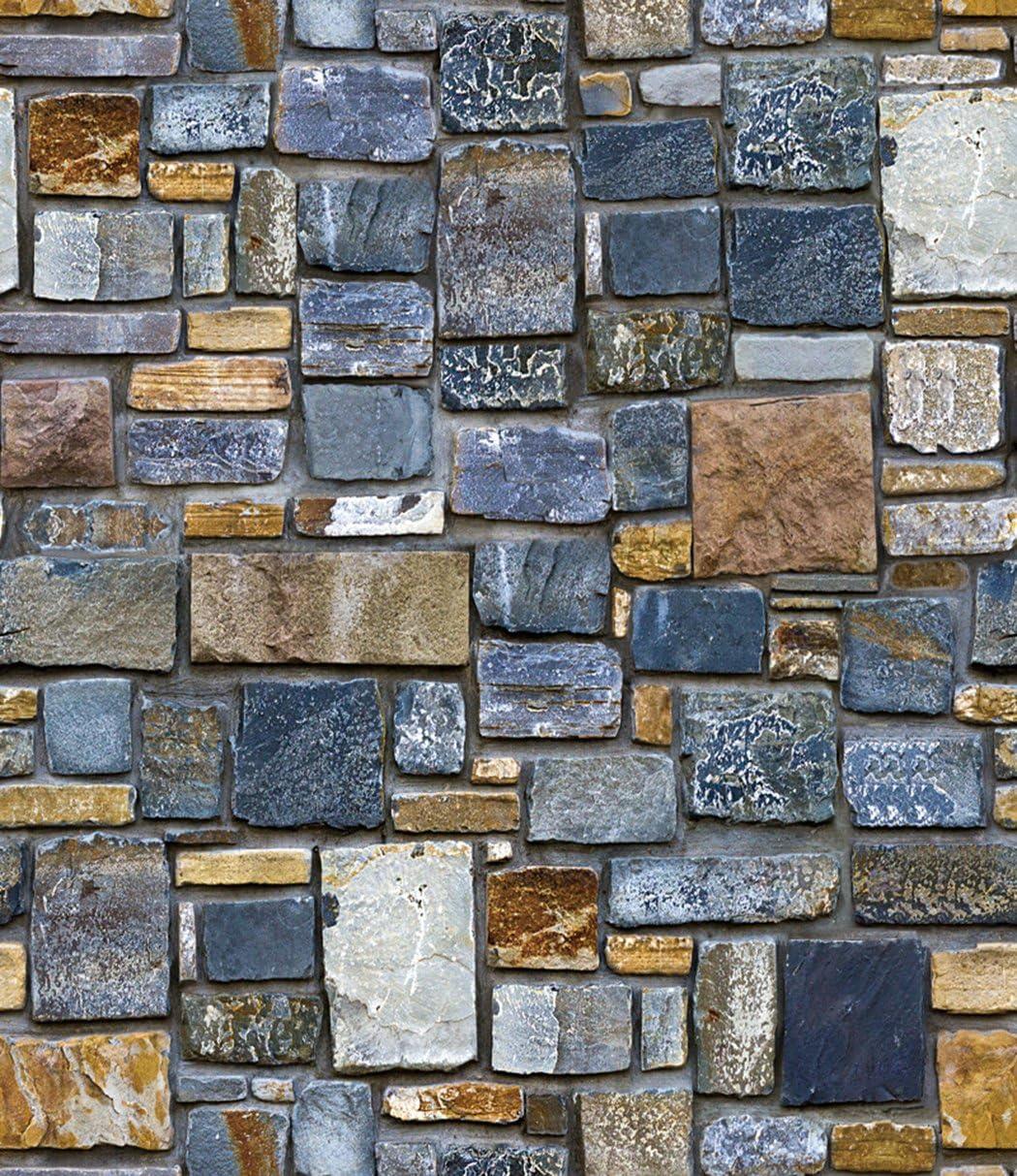 1//2//3//4 Roll 33x1.7FT 3D Wall Paper Brick Stone Rustic Effect Sticker Light Gray