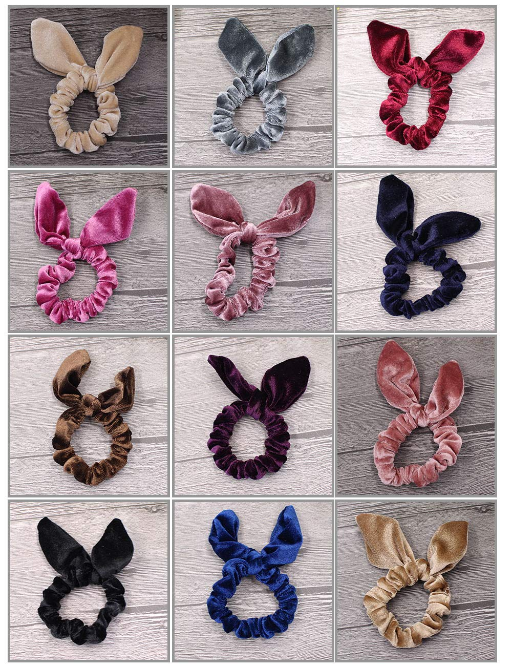 12 Pack Hair Scrunchies Velvet Elastic Hair Bands Scrunchy Hair Ties Ropes Scrunchies for Women or Girls Hair Accessories, Rabbit Ear Scrunchie Md trade