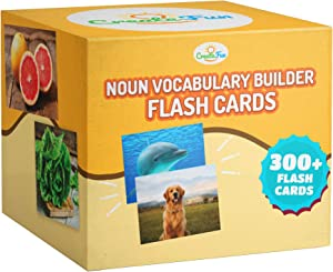 Noun Vocabulary Builder Flash Cards - 300 Educational Photos - Animals, Food, Instruments, Sports, Transportation +More - For Speech Therapy Materials, ESL, Preschool, Special Education with Games