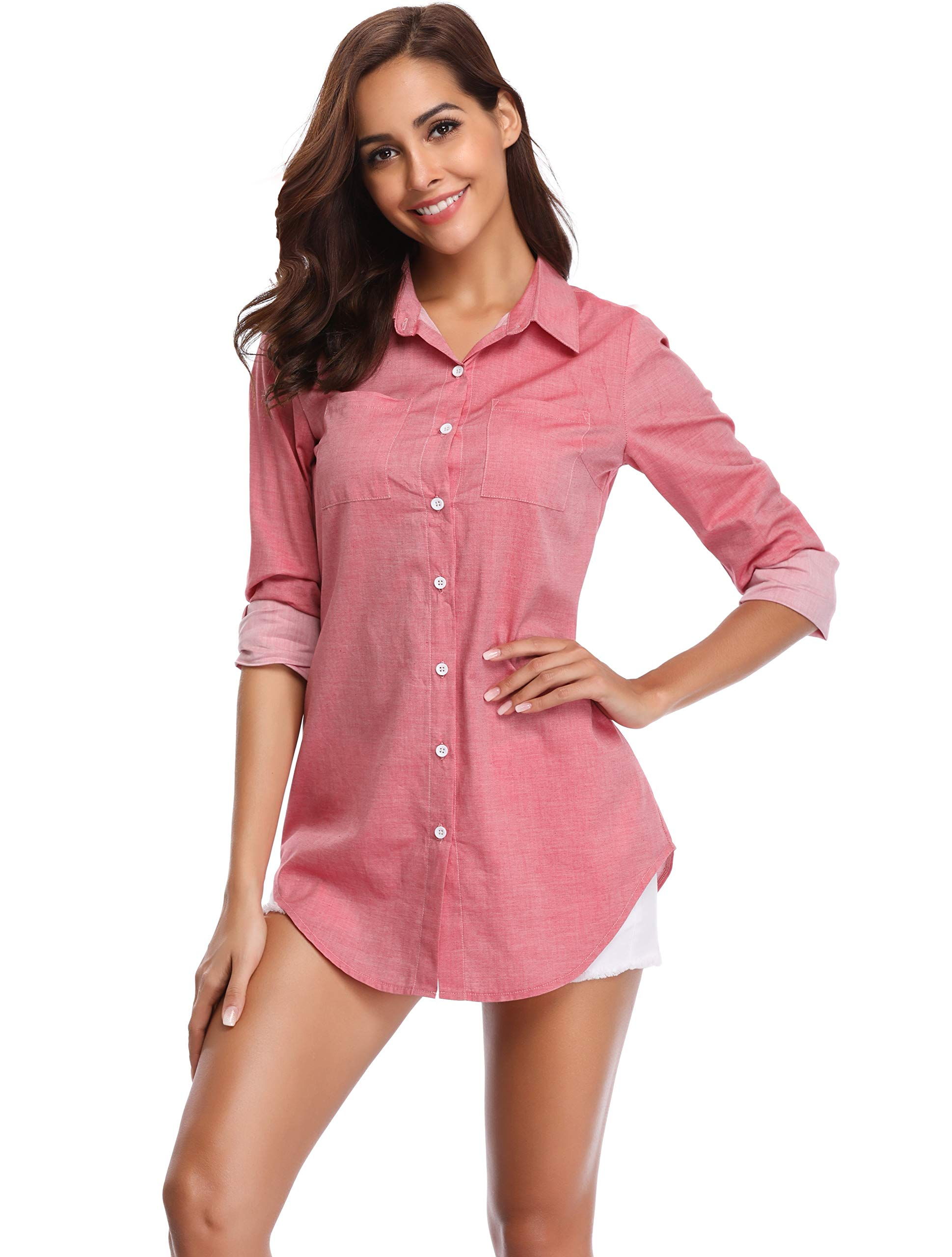 Argstar Women's Chambray Button Down Shirt Long Sleeve Jeans Top,Light Red,Large (US 12-14)