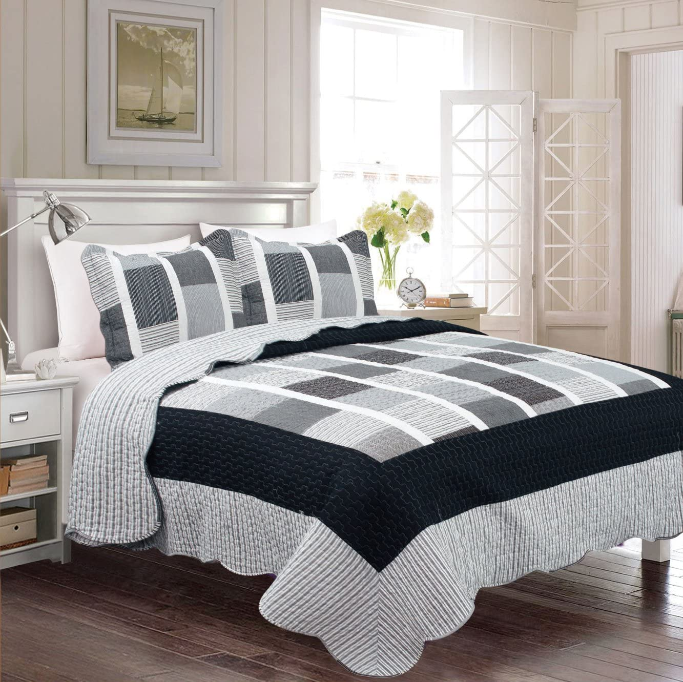 Twin//Twin XL Linen Plus Reversible Bedspread Set Squares Stripes Black White Grey New