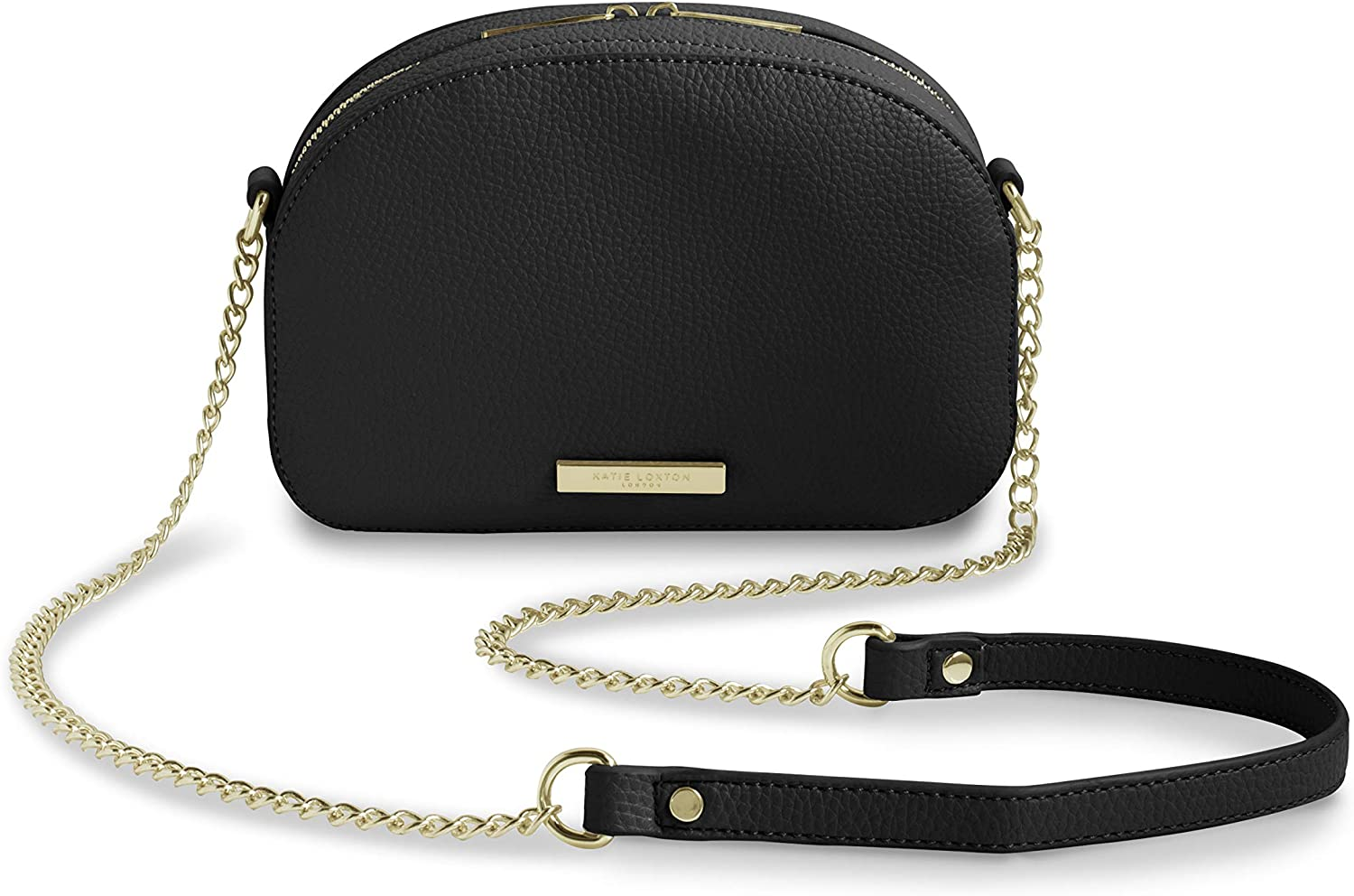 Katie Loxton Half Moon Womens Vegan Leather Shoulder Cross Body Bag Black