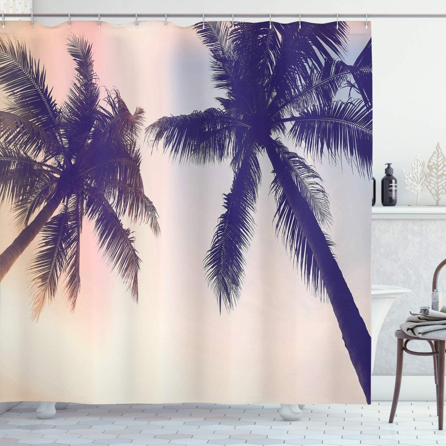 Tropical Shower Curtain Coconut Palm Trees Print for Bathroom 70 Inches Long