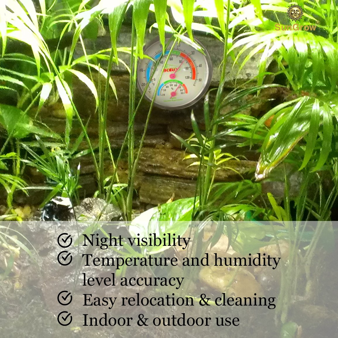 Water-Proof SunGrow Boro Analog Dual Thermometer & Humidity Gauge with Night light : Submersible Hygrometer & Temperature Reader : Monitor Reptile's Habitat : Stand ensures Easy Relocation