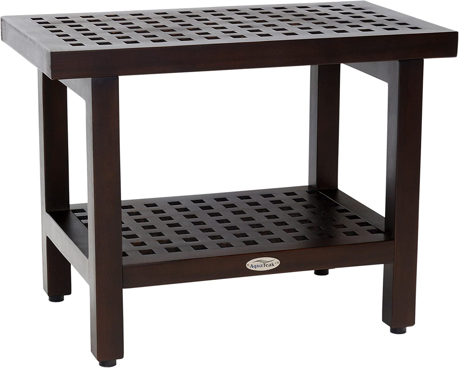 "AquaTeak 24"" Grate Mocha Teak Shower Bench with Shelf"