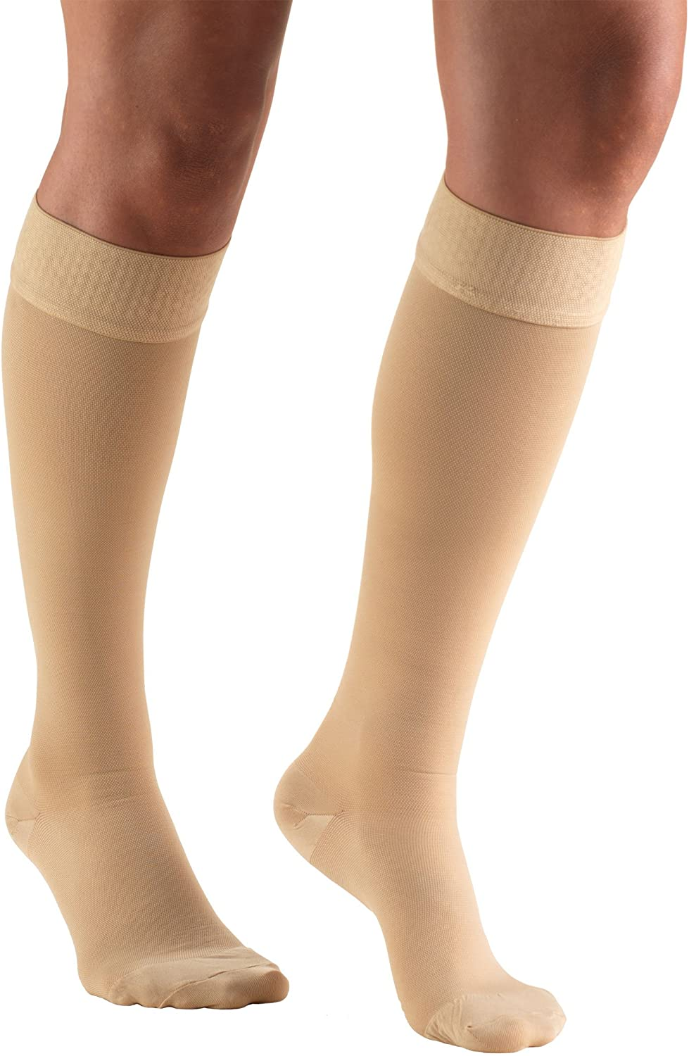 Truform 20-30 mmHg Compression Stockings for Men and Women Beige Dot-Top Open Toe 2X-Large Knee High Length