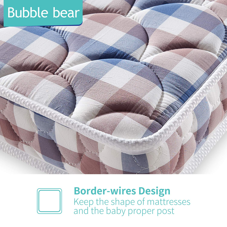 Comfortable//Non-Toxic Bubble bear Premium Memory Foam Hypoallergenic Infant Crib Mattress and Toddler Bed Mattress Black /& White   Size:52X28X5
