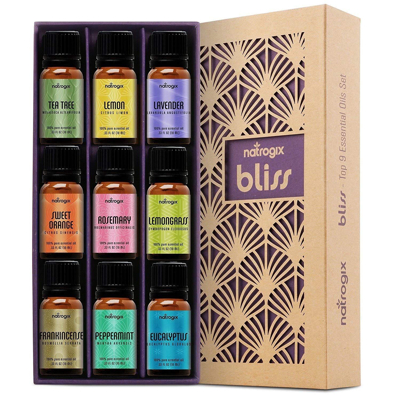 Natrogix Bliss Essential Oils - Top 9 Therapeutic Grade 100% Pure Essential Oil Set (Tea Tree, Lavender, Eucalyptus, Frankincense, Lemongrass, Lemon, Rosemary, Orange, Peppermint) w/ Free E-Book