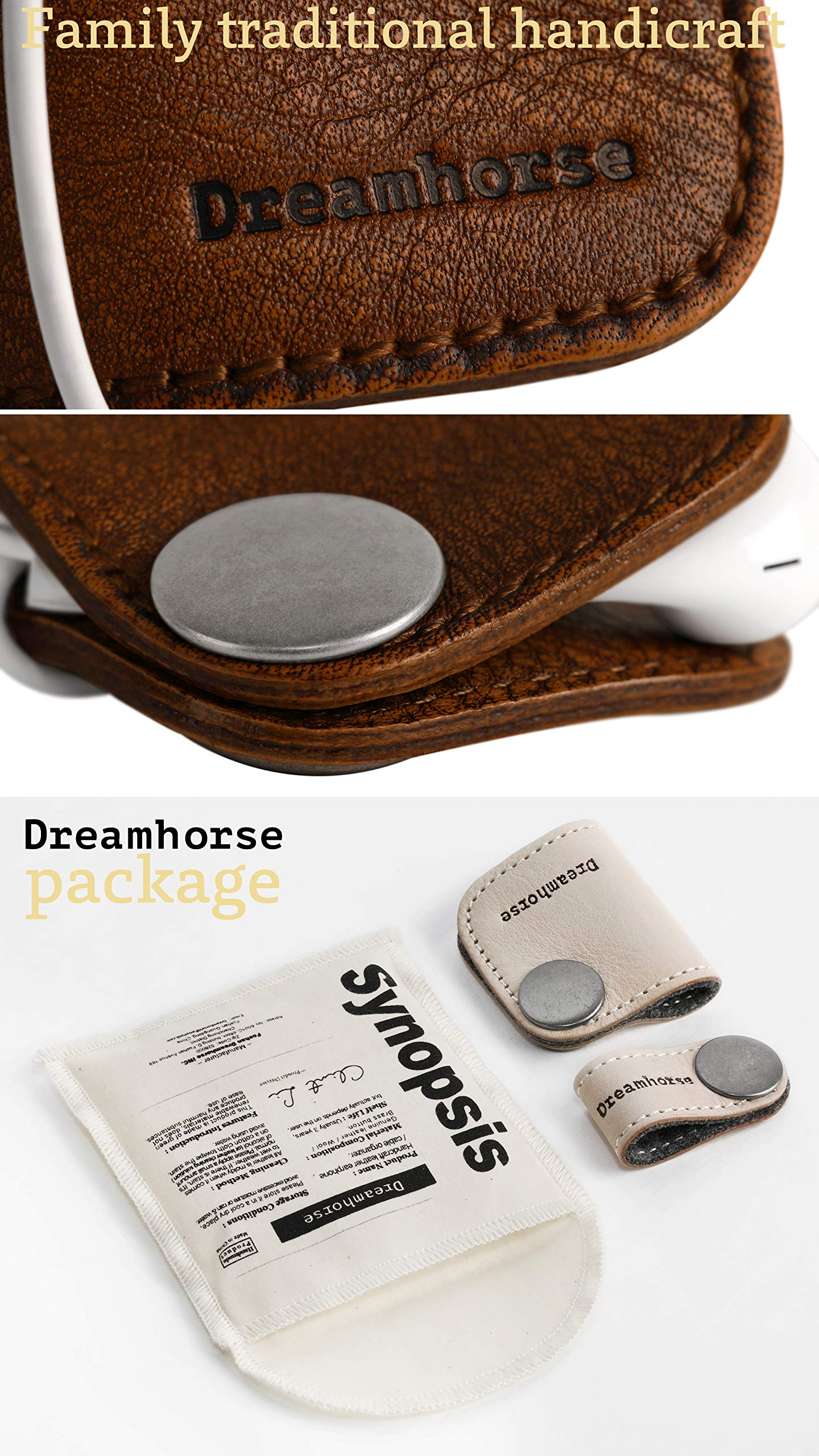 Cord Winder Cord Organizer Earbud Holder Earphone Wrap Earphone Organizer Headset Headphones Earphone Wrap Dreamhorse's Handmade Leather Protection Headphone Cable Pack of 2 Brown by DreamHorse (Image #5)