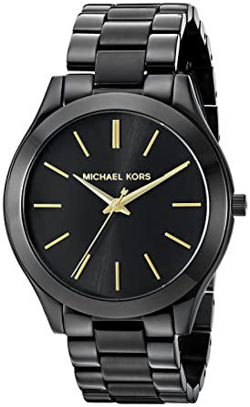 c448a07f8c8b Amazon.com  Michael Kors Women s Slim Runway Black Watch MK3221 ...