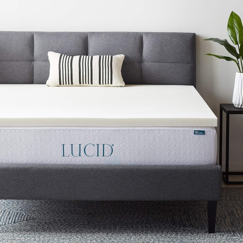 LUCID 2 Inch Ventilated Memory Foam Mattress Topper, Queen,