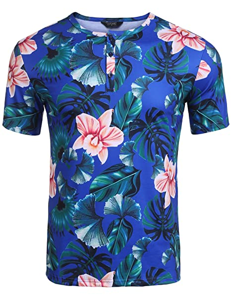90fabecc5df6 COOFANDY Men's Hipster Short Sleeve Tropical Floral Print Henley Tee Shirt:  Amazon.ca: Clothing & Accessories