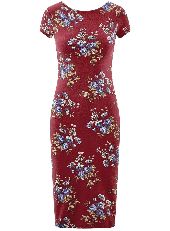 oodji Collection Mujer Vestido Midi con Escote en la Espalda: Amazon.es: Ropa y accesorios