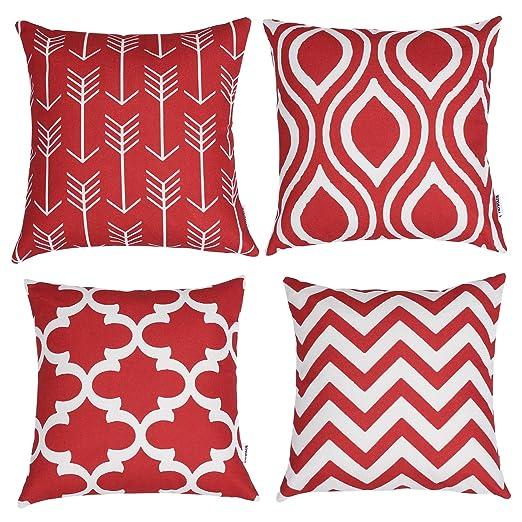 TIDWIACE® Rojo Algodón Lino Fundas de cojín Almohada Cuadrado Decorativa para Camas sofás sillas 45x45cm,4 Cojines
